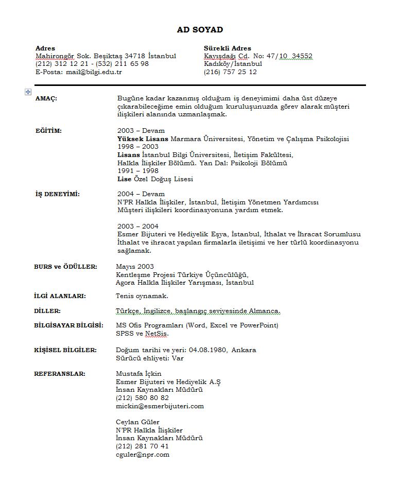 Boş CV Örneği