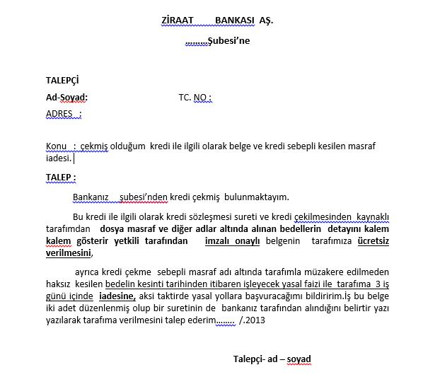 Dosya Masrafı Dilekçe Örneği