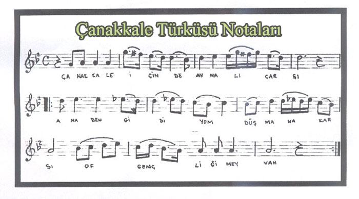 Çanakkale Türküsü Notaları